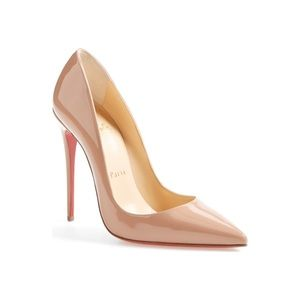 Christian Louboutin Patent Nude Pointy Toe Pump
